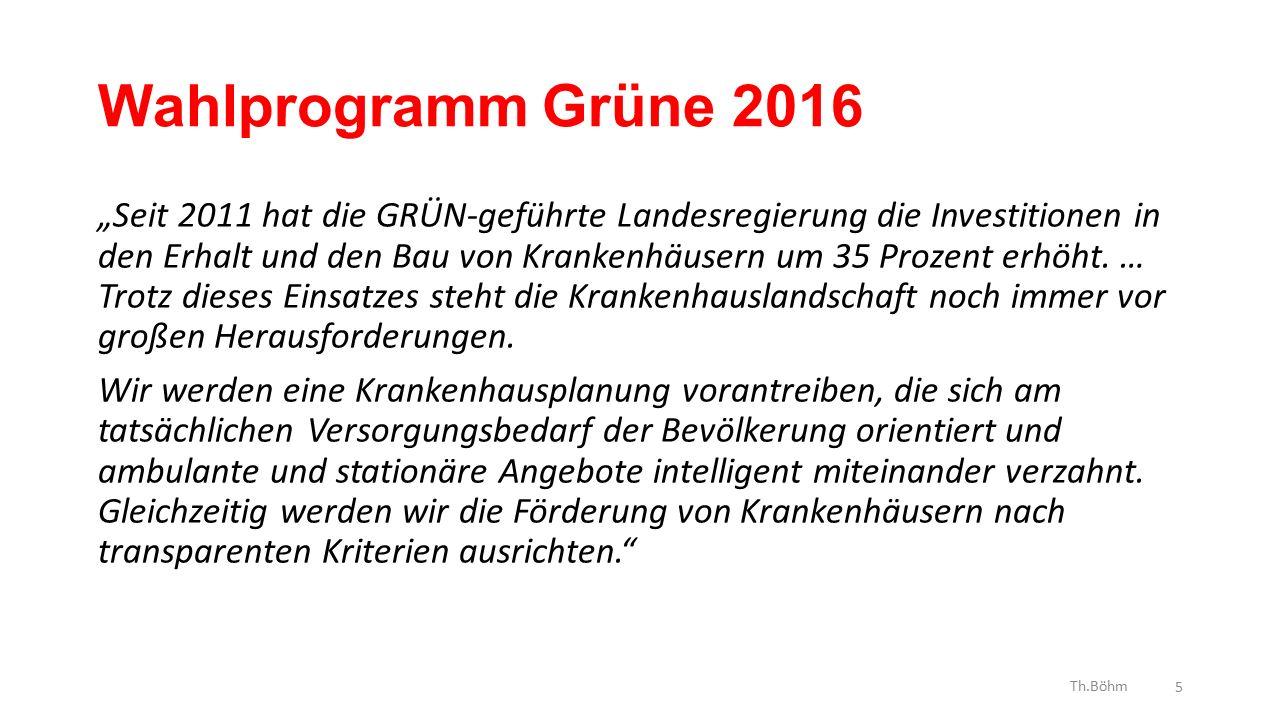 """Wahlprogramm Grüne 2016 """"Seit 2011 hat die GRÜN-geführte Landesregierung die Investitionen in den Erhalt und den Bau von Krankenhäusern um 35 Prozent erhöht."""