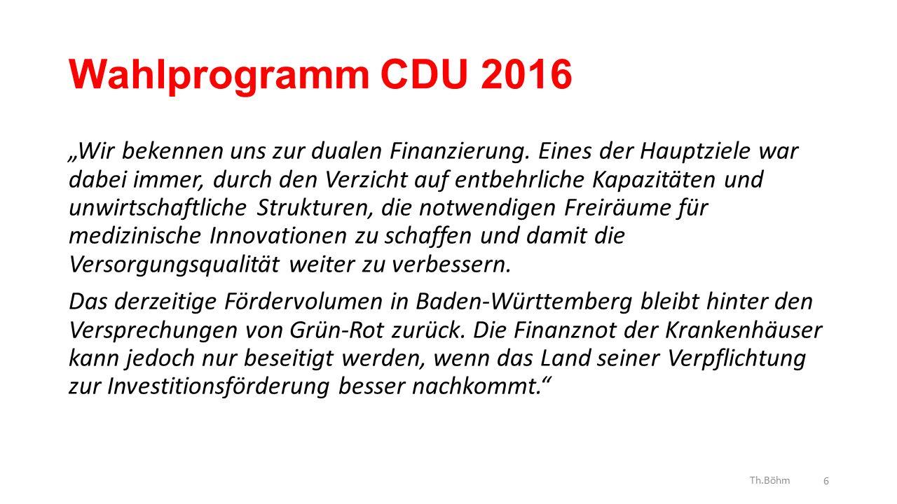 """Wahlprogramm CDU 2016 """"Wir bekennen uns zur dualen Finanzierung."""