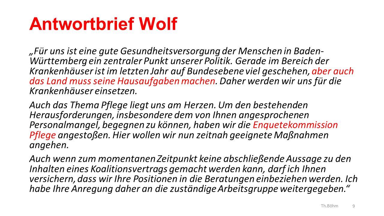 """Antwortbrief Wolf """"Für uns ist eine gute Gesundheitsversorgung der Menschen in Baden- Württemberg ein zentraler Punkt unserer Politik."""