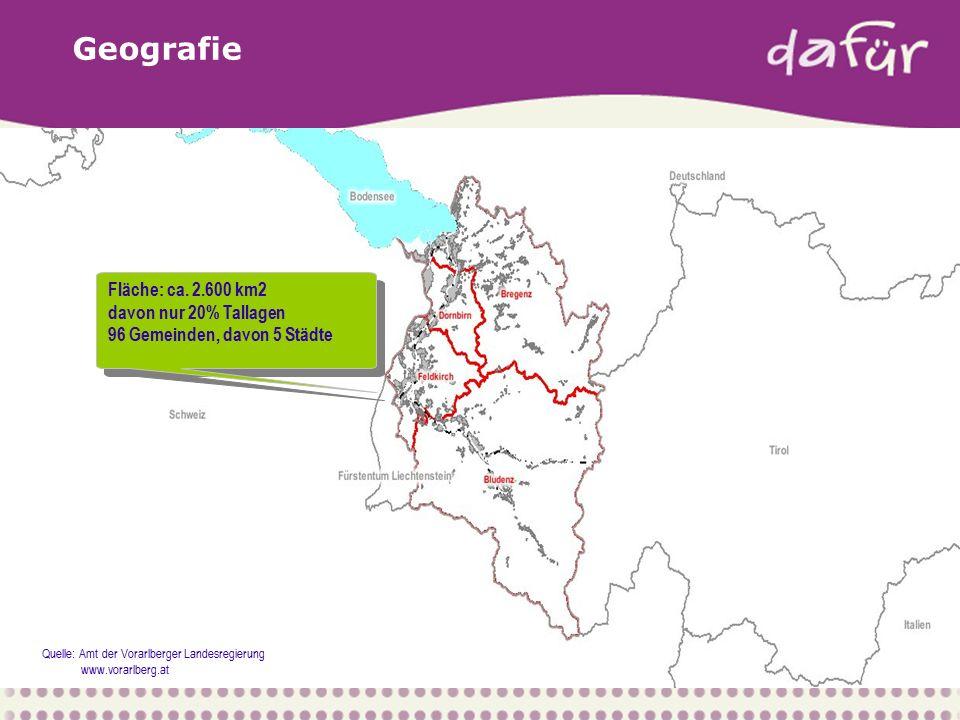 Geografie Fläche: ca. 2.600 km2 davon nur 20% Tallagen 96 Gemeinden, davon 5 Städte Fläche: ca.