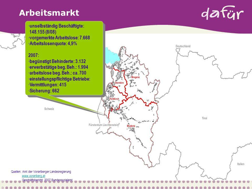 """Ausgangssituation Assistenz  bis 2007 haben 30 Soziale Dienstleister in Vorarlberg Assistenzleistungen für Menschen mit Behinderung (MmB) angeboten  das System der staatlichen Förderung hat zu Spezialisierung und Differenzierung geführt  Unternehmen und MmB waren mit der Zersplitterung des Systems unzufrieden  2005 haben sich das Bundessozialamt und das Land Vorarlberg schon entschlossen das gesamte System der beruflichen Integration von MmB zu reorganisieren  es wurde in einem EU-Projekt (2005-2007) ein neues Handlungsmodell entwickelt unter dem Titel """"dafür"""