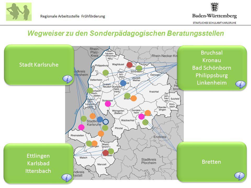 STAATLICHES SCHULAMT KARLSRUHE Regionale Arbeitsstelle Frühförderung Kontaktdaten der Sonderpädagogischen Beratungsstellen im nördlichen Landkreis Karlsruhe