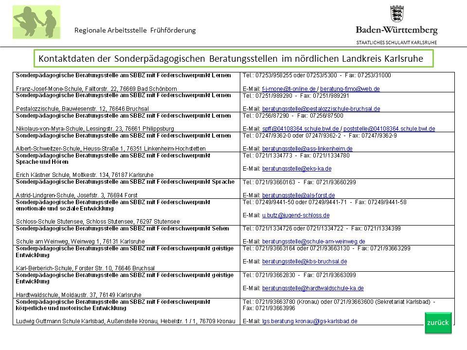 STAATLICHES SCHULAMT KARLSRUHE Regionale Arbeitsstelle Frühförderung Kontaktdaten der Sonderpädagogischen Beratungsstellen im nördlichen Landkreis Kar