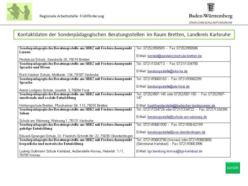 STAATLICHES SCHULAMT KARLSRUHE Regionale Arbeitsstelle Frühförderung Kontaktdaten der Sonderpädagogischen Beratungsstellen im Raum Bretten, Landkreis Karlsruhe