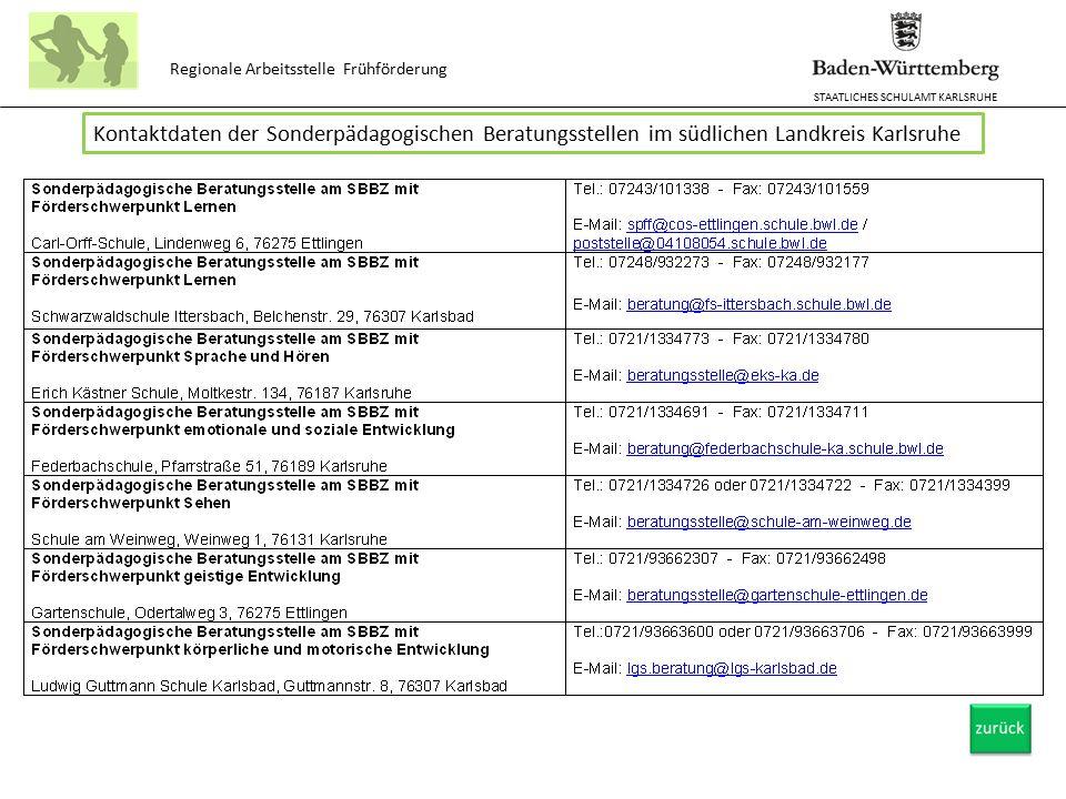 STAATLICHES SCHULAMT KARLSRUHE Regionale Arbeitsstelle Frühförderung Kontaktdaten der Sonderpädagogischen Beratungsstellen im südlichen Landkreis Karl