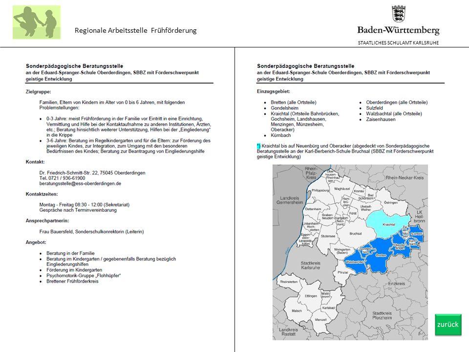 STAATLICHES SCHULAMT KARLSRUHE Regionale Arbeitsstelle Frühförderung