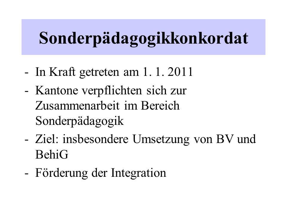 Sonderpädagogikkonkordat -In Kraft getreten am 1. 1. 2011 -Kantone verpflichten sich zur Zusammenarbeit im Bereich Sonderpädagogik -Ziel: insbesondere