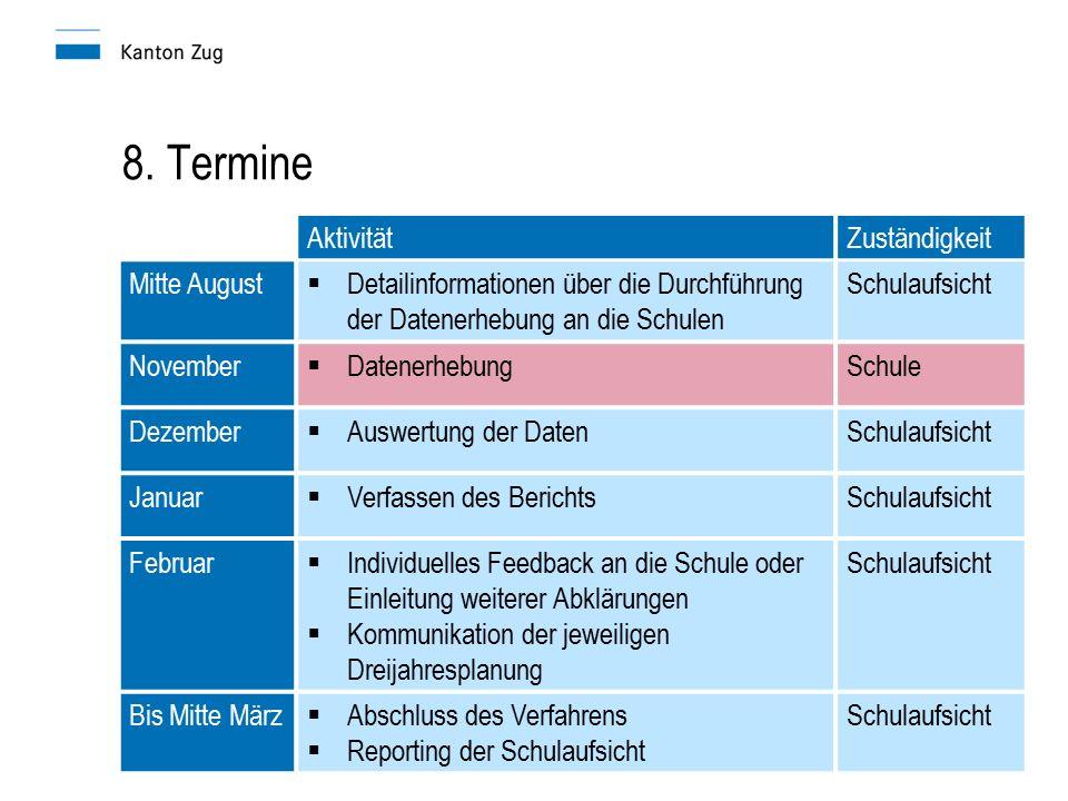 8. Termine AktivitätZuständigkeit Mitte August  Detailinformationen über die Durchführung der Datenerhebung an die Schulen Schulaufsicht November  D