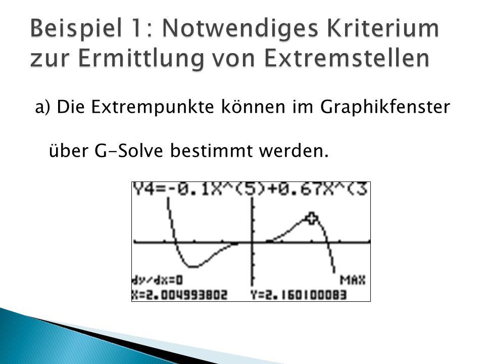 a) Die Extrempunkte können im Graphikfenster über G-Solve bestimmt werden.