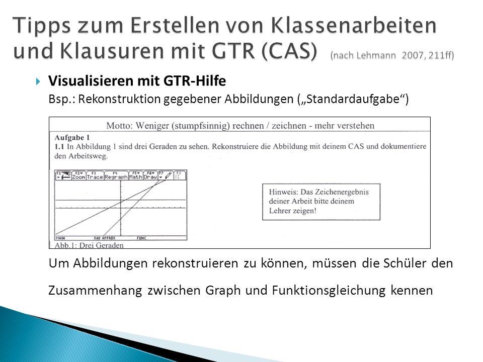 """ Visualisieren mit GTR-Hilfe Bsp.: Rekonstruktion gegebener Abbildungen (""""Standardaufgabe ) Um Abbildungen rekonstruieren zu können, müssen die Schüler den Zusammenhang zwischen Graph und Funktionsgleichung kennen"""