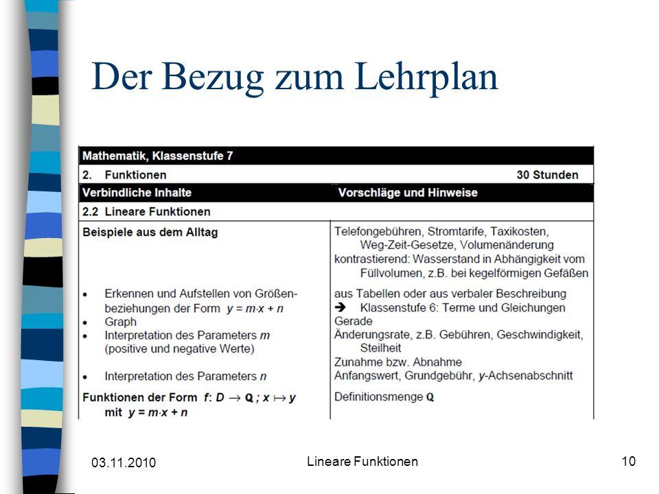 03.11.2010 Lineare Funktionen10 Der Bezug zum Lehrplan