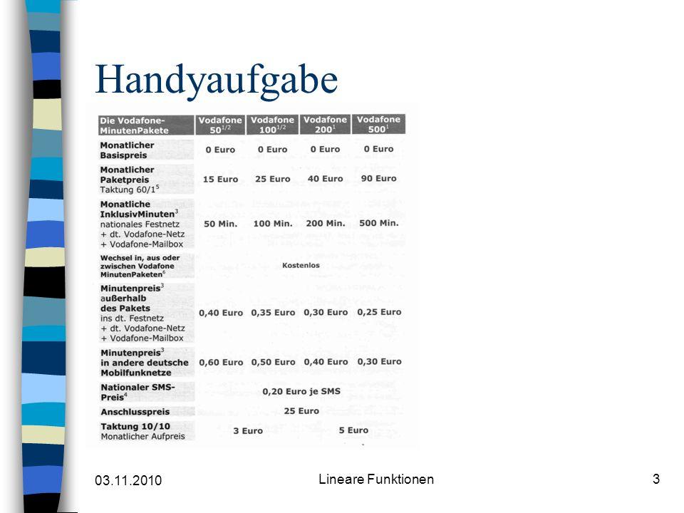 03.11.2010 Lineare Funktionen3 Handyaufgabe