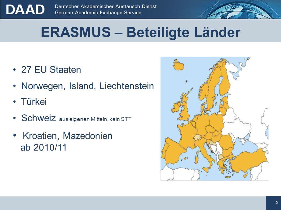 5 ERASMUS – Beteiligte Länder 27 EU Staaten Norwegen, Island, Liechtenstein Türkei Schweiz aus eigenen Mitteln, kein STT Kroatien, Mazedonien ab 2010/11