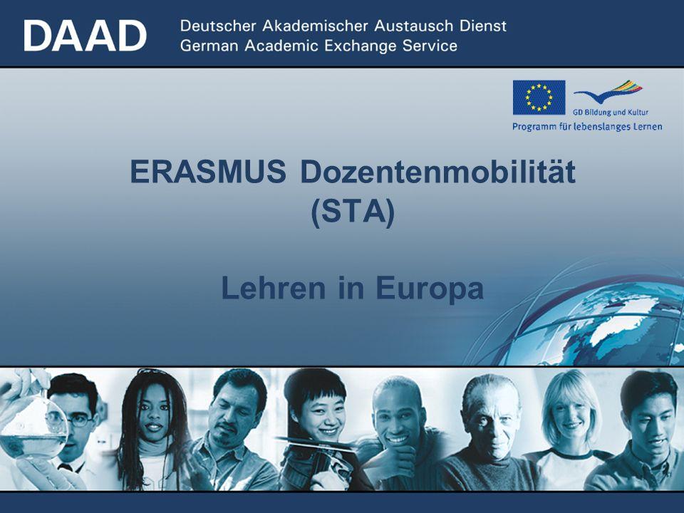 ERASMUS Dozentenmobilität (STA) Lehren in Europa