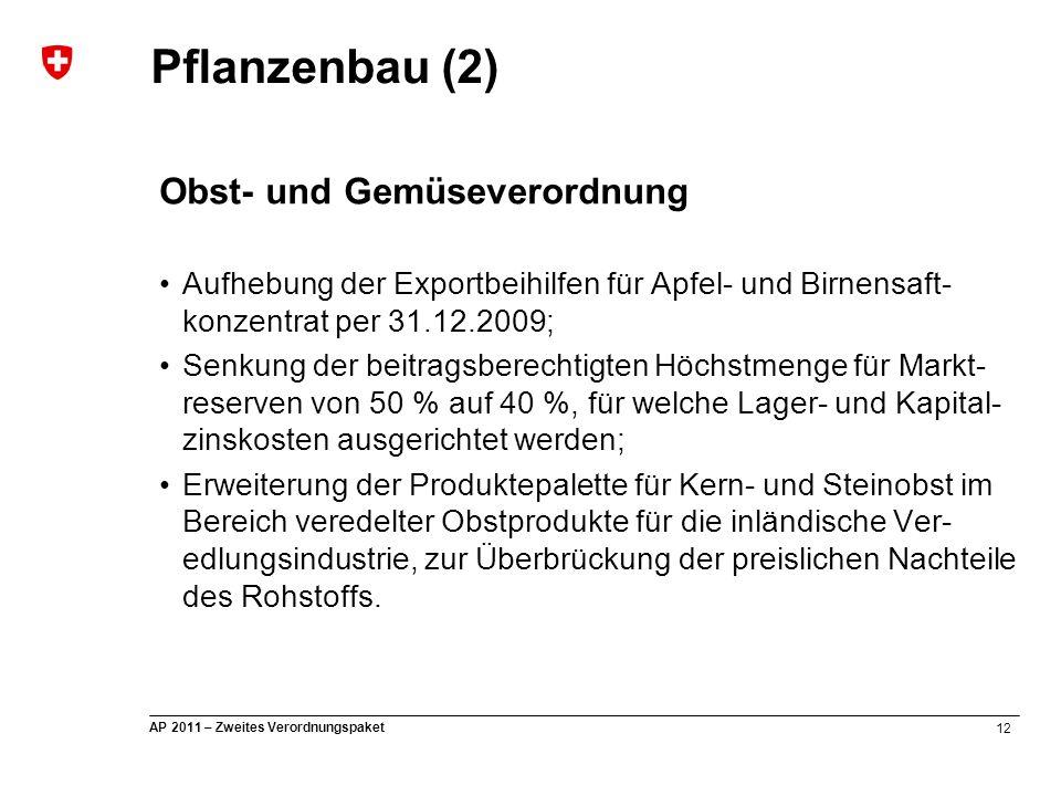 12 AP 2011 – Zweites Verordnungspaket Pflanzenbau (2) Obst- und Gemüseverordnung Aufhebung der Exportbeihilfen für Apfel- und Birnensaft- konzentrat p