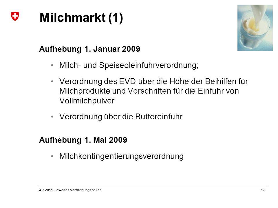 14 AP 2011 – Zweites Verordnungspaket Aufhebung 1. Januar 2009 Milch- und Speiseöleinfuhrverordnung; Verordnung des EVD über die Höhe der Beihilfen fü