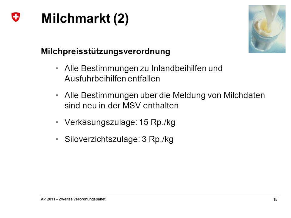 15 AP 2011 – Zweites Verordnungspaket Milchpreisstützungsverordnung Alle Bestimmungen zu Inlandbeihilfen und Ausfuhrbeihilfen entfallen Alle Bestimmun