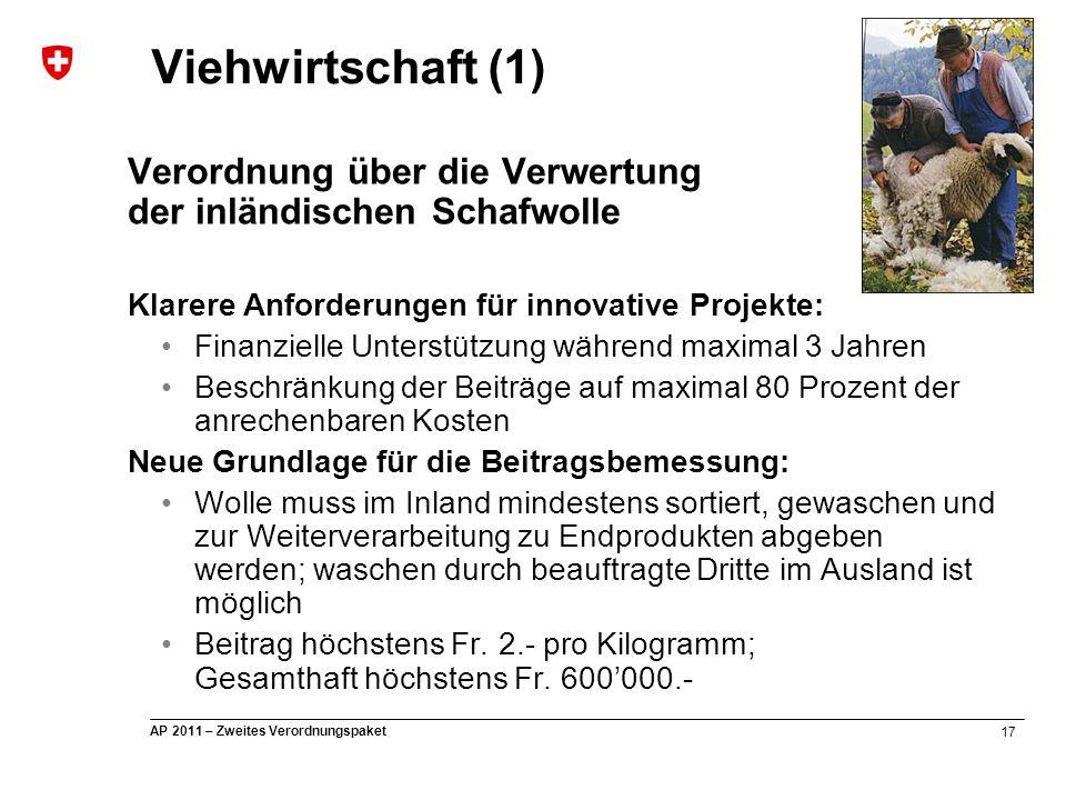 17 AP 2011 – Zweites Verordnungspaket Viehwirtschaft (1) Verordnung über die Verwertung der inländischen Schafwolle Klarere Anforderungen für innovati