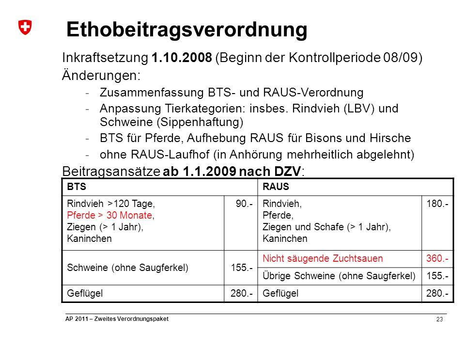 23 AP 2011 – Zweites Verordnungspaket Ethobeitragsverordnung Inkraftsetzung 1.10.2008 (Beginn der Kontrollperiode 08/09) Änderungen: -Zusammenfassung