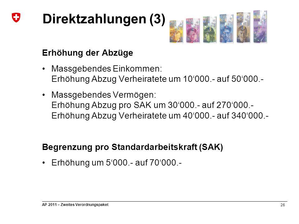 26 AP 2011 – Zweites Verordnungspaket Erhöhung der Abzüge Massgebendes Einkommen: Erhöhung Abzug Verheiratete um 10'000.- auf 50'000.- Massgebendes Ve