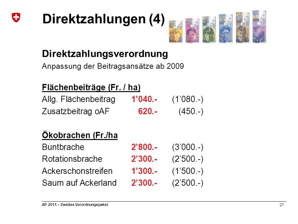 27 AP 2011 – Zweites Verordnungspaket Direktzahlungsverordnung Anpassung der Beitragsansätze ab 2009 Flächenbeiträge (Fr. / ha) Allg. Flächenbeitrag 1