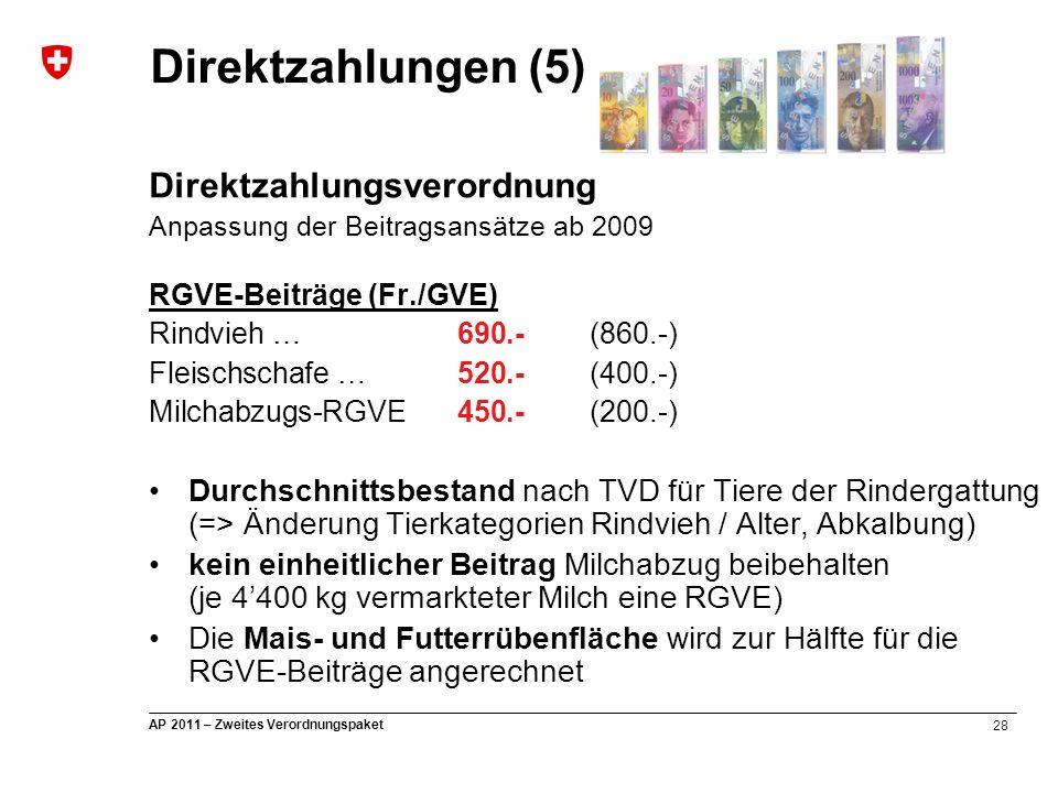28 AP 2011 – Zweites Verordnungspaket Direktzahlungsverordnung Anpassung der Beitragsansätze ab 2009 RGVE-Beiträge (Fr./GVE) Rindvieh … 690.-(860.-) F