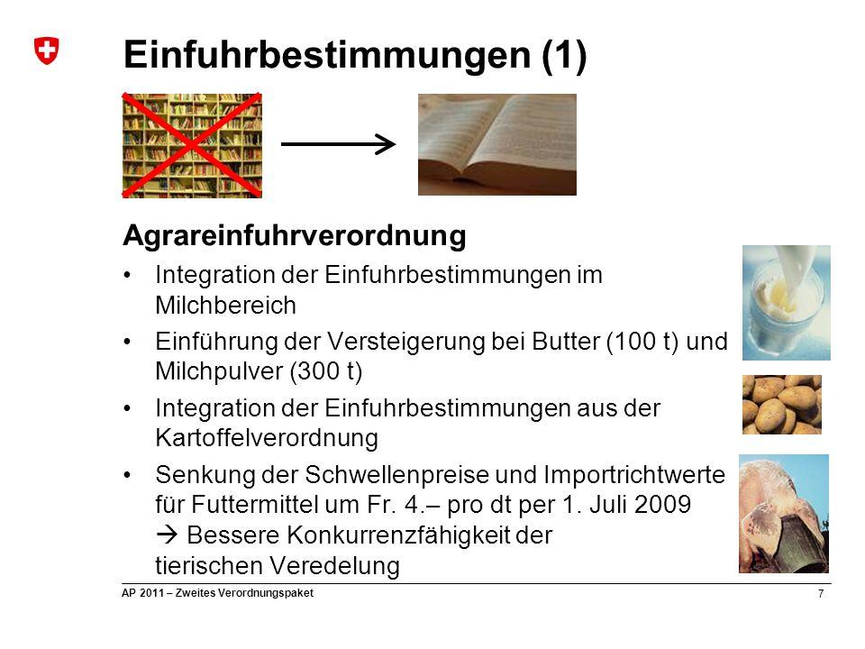 28 AP 2011 – Zweites Verordnungspaket Direktzahlungsverordnung Anpassung der Beitragsansätze ab 2009 RGVE-Beiträge (Fr./GVE) Rindvieh … 690.-(860.-) Fleischschafe … 520.- (400.-) Milchabzugs-RGVE 450.-(200.-) Durchschnittsbestand nach TVD für Tiere der Rindergattung (=> Änderung Tierkategorien Rindvieh / Alter, Abkalbung) kein einheitlicher Beitrag Milchabzug beibehalten (je 4'400 kg vermarkteter Milch eine RGVE) Die Mais- und Futterrübenfläche wird zur Hälfte für die RGVE-Beiträge angerechnet Direktzahlungen (5)