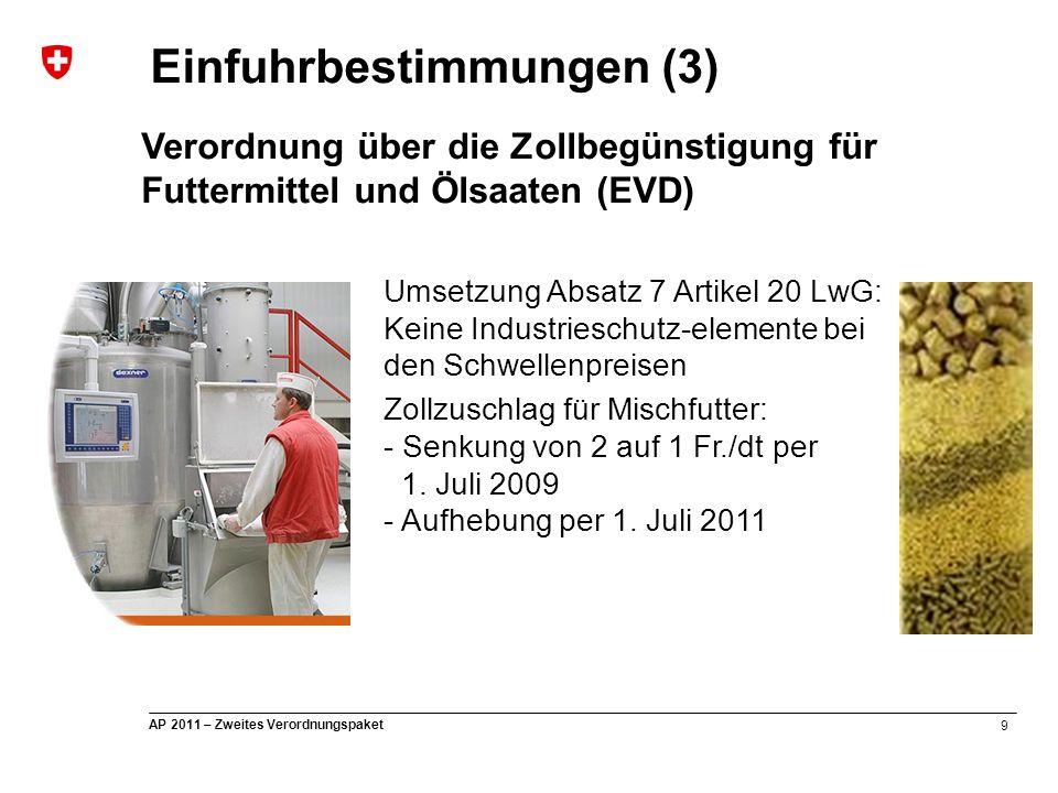 9 AP 2011 – Zweites Verordnungspaket Einfuhrbestimmungen (3) Verordnung über die Zollbegünstigung für Futtermittel und Ölsaaten (EVD) Umsetzung Absatz