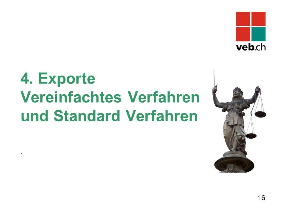 4. Exporte Vereinfachtes Verfahren und Standard Verfahren. 16