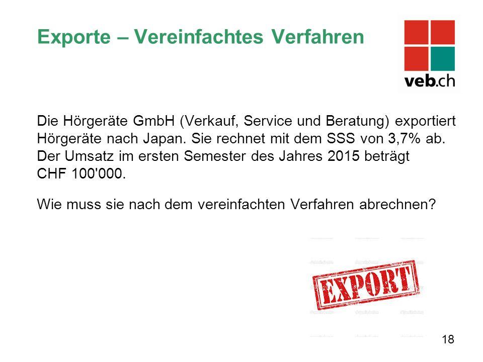 Exporte – Vereinfachtes Verfahren Die Hörgeräte GmbH (Verkauf, Service und Beratung) exportiert Hörgeräte nach Japan.
