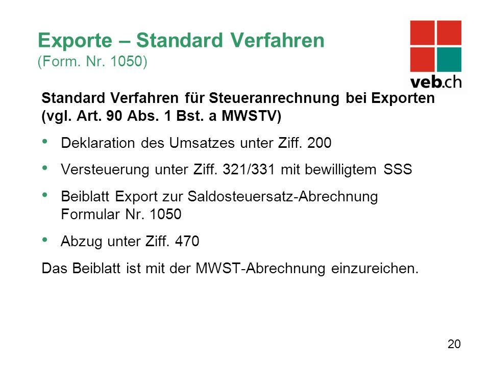 Exporte – Standard Verfahren (Form. Nr.