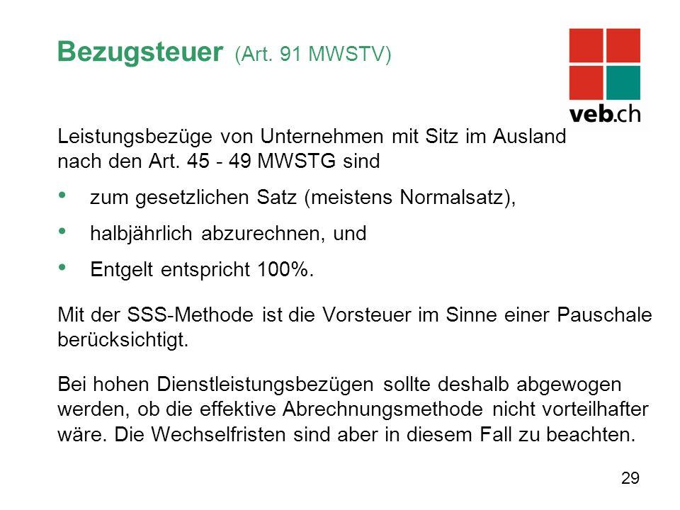 Bezugsteuer (Art. 91 MWSTV) Leistungsbezüge von Unternehmen mit Sitz im Ausland nach den Art.