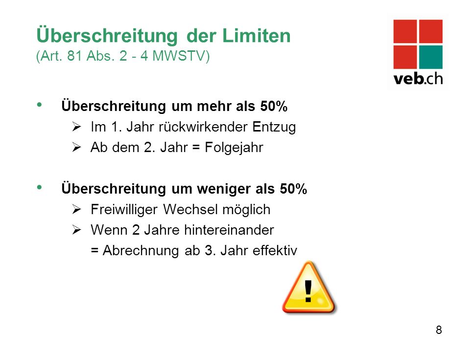 Überschreitung der Limiten (Art. 81 Abs. 2 - 4 MWSTV) Überschreitung um mehr als 50%  Im 1.