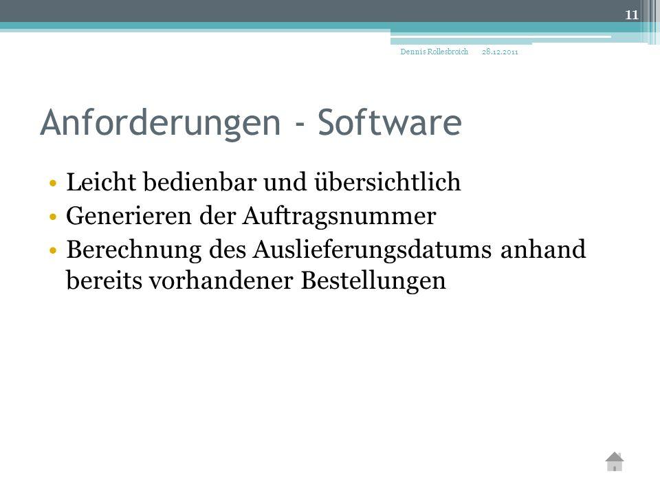Anforderungen - Software Leicht bedienbar und übersichtlich Generieren der Auftragsnummer Berechnung des Auslieferungsdatums anhand bereits vorhandener Bestellungen 28.12.2011Dennis Rollesbroich 11