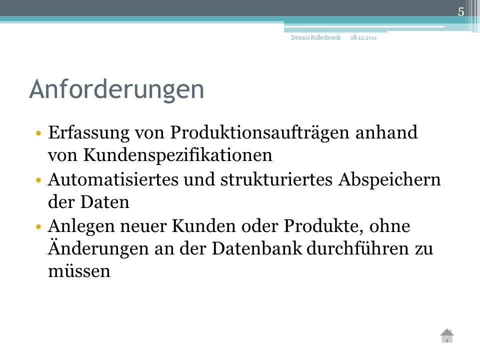 Erfassung von Produktionsaufträgen anhand von Kundenspezifikationen Automatisiertes und strukturiertes Abspeichern der Daten Anlegen neuer Kunden oder Produkte, ohne Änderungen an der Datenbank durchführen zu müssen 28.12.2011Dennis Rollesbroich 5