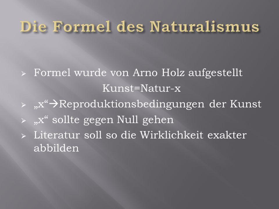 """ Formel wurde von Arno Holz aufgestellt Kunst=Natur-x  """"x  Reproduktionsbedingungen der Kunst  """"x sollte gegen Null gehen  Literatur soll so die Wirklichkeit exakter abbilden"""