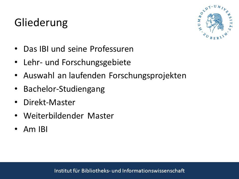 Gliederung Das IBI und seine Professuren Lehr- und Forschungsgebiete Auswahl an laufenden Forschungsprojekten Bachelor-Studiengang Direkt-Master Weiterbildender Master Am IBI Institut für Bibliotheks- und Informationswissenschaft