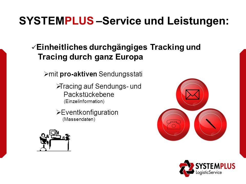 SYSTEMPLUS –Service und Leistungen: Einheitliches durchgängiges Tracking und Tracing durch ganz Europa  mit pro-aktiven Sendungsstati  Tracing auf Sendungs- und Packstückebene (Einzelinformation)  Eventkonfiguration (Massendaten)