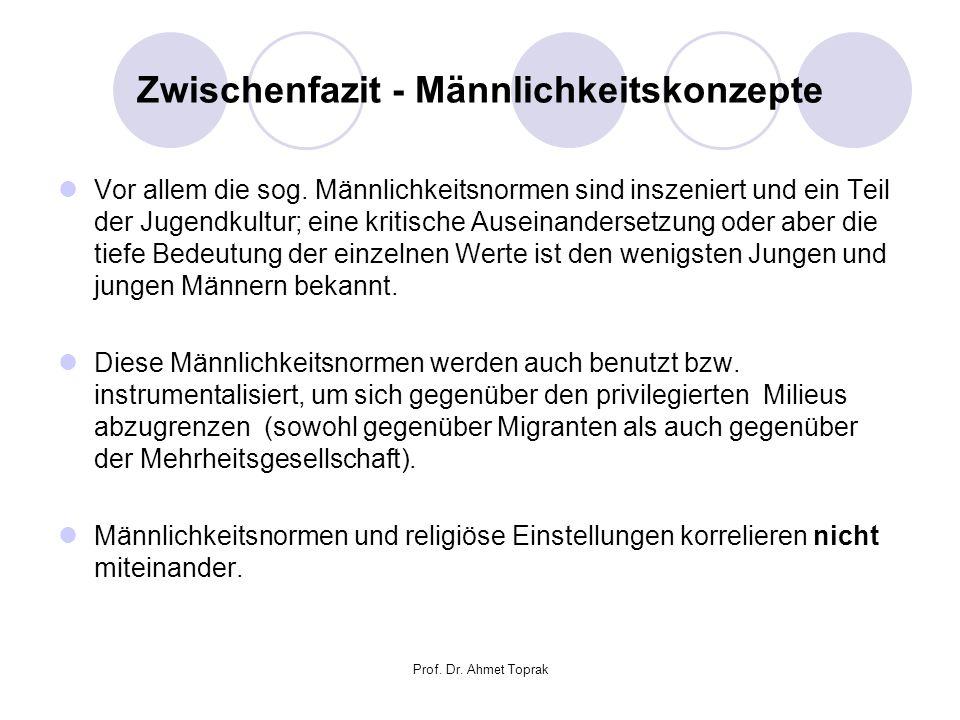 Prof. Dr. Ahmet Toprak Zwischenfazit - Männlichkeitskonzepte Vor allem die sog.
