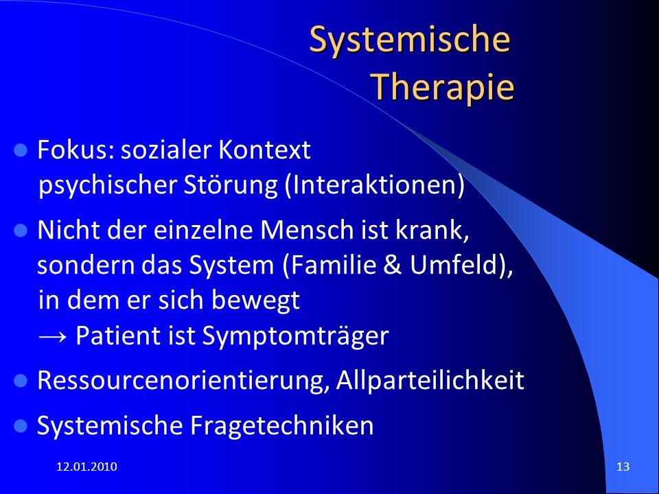12.01.201013 Systemische Therapie Fokus: sozialer Kontext psychischer Störung (Interaktionen) Nicht der einzelne Mensch ist krank, sondern das System
