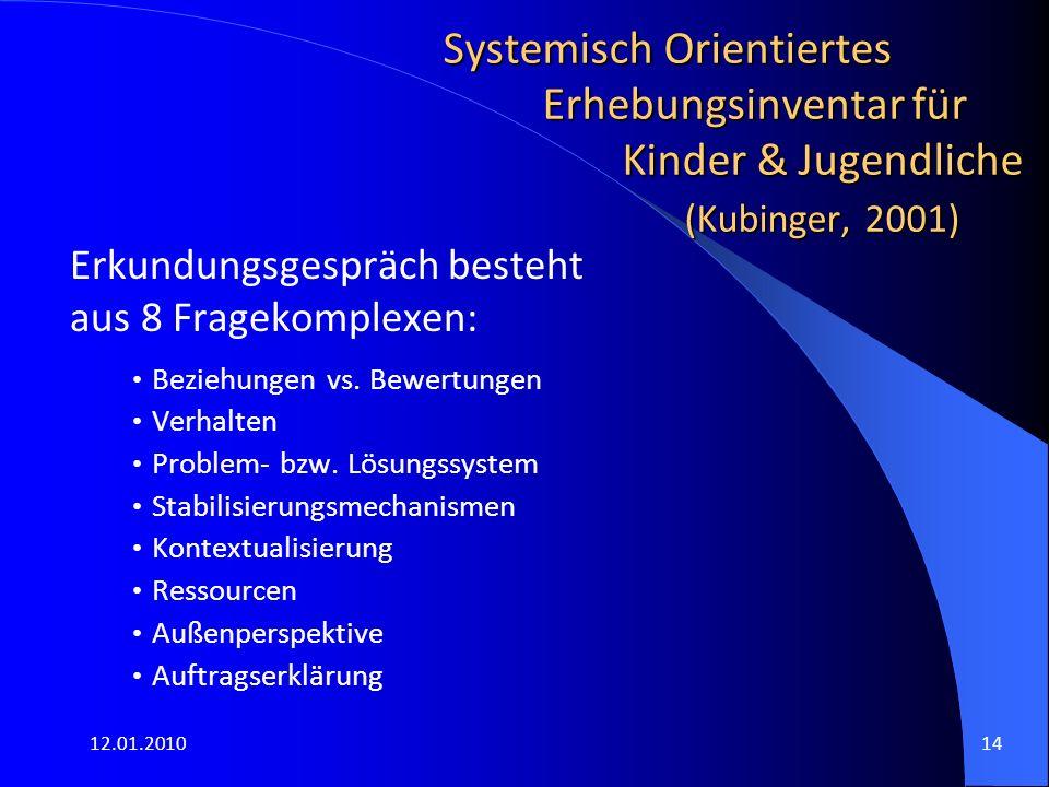 12.01.201014 Systemisch Orientiertes Erhebungsinventar für Kinder & Jugendliche (Kubinger, 2001) Erkundungsgespräch besteht aus 8 Fragekomplexen: Beziehungen vs.
