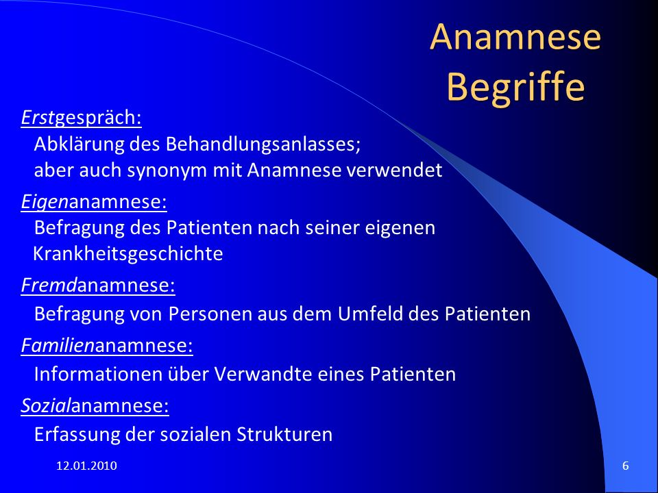 12.01.20106 Anamnese Begriffe Erstgespräch: Abklärung des Behandlungsanlasses; aber auch synonym mit Anamnese verwendet Eigenanamnese: Befragung des P
