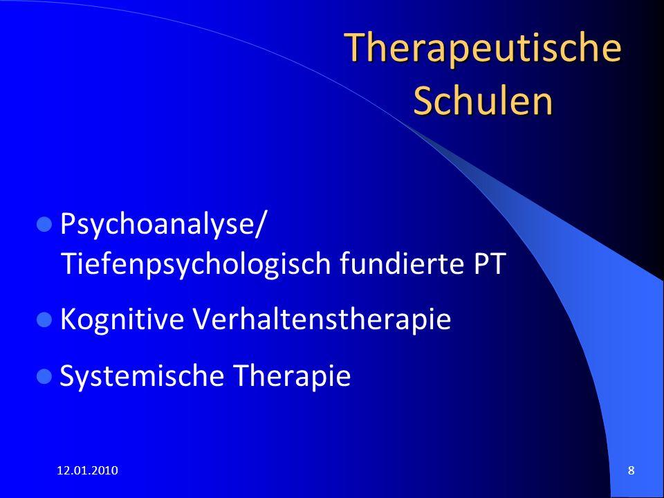 12.01.20108 Therapeutische Schulen Psychoanalyse/ Tiefenpsychologisch fundierte PT Kognitive Verhaltenstherapie Systemische Therapie