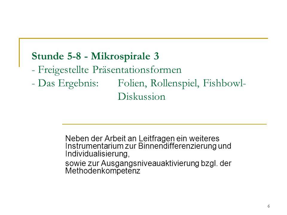 6 Stunde 5-8 - Mikrospirale 3 - Freigestellte Präsentationsformen - Das Ergebnis: Folien, Rollenspiel, Fishbowl- Diskussion Neben der Arbeit an Leitfr