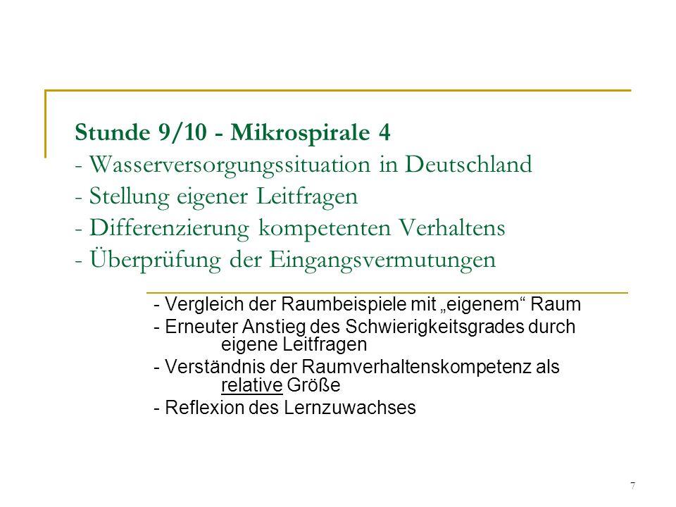 7 Stunde 9/10 - Mikrospirale 4 - Wasserversorgungssituation in Deutschland - Stellung eigener Leitfragen - Differenzierung kompetenten Verhaltens - Üb