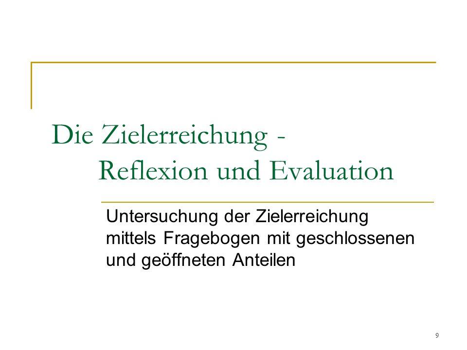 9 Die Zielerreichung - Reflexion und Evaluation Untersuchung der Zielerreichung mittels Fragebogen mit geschlossenen und geöffneten Anteilen