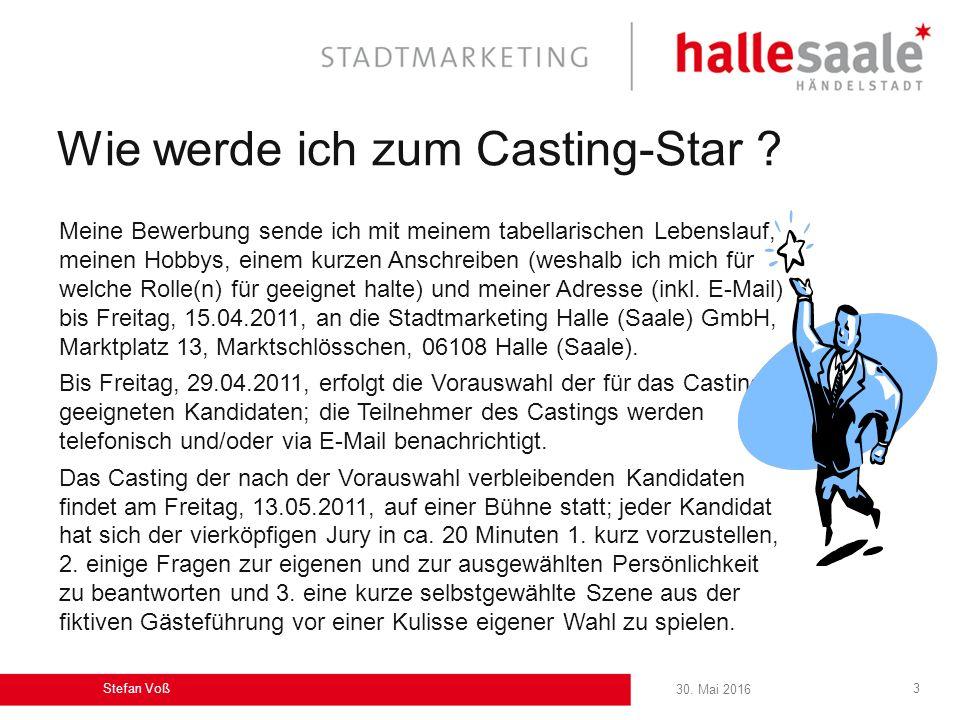 30.Mai 2016 Stefan Voß 3 Wie werde ich zum Casting-Star .