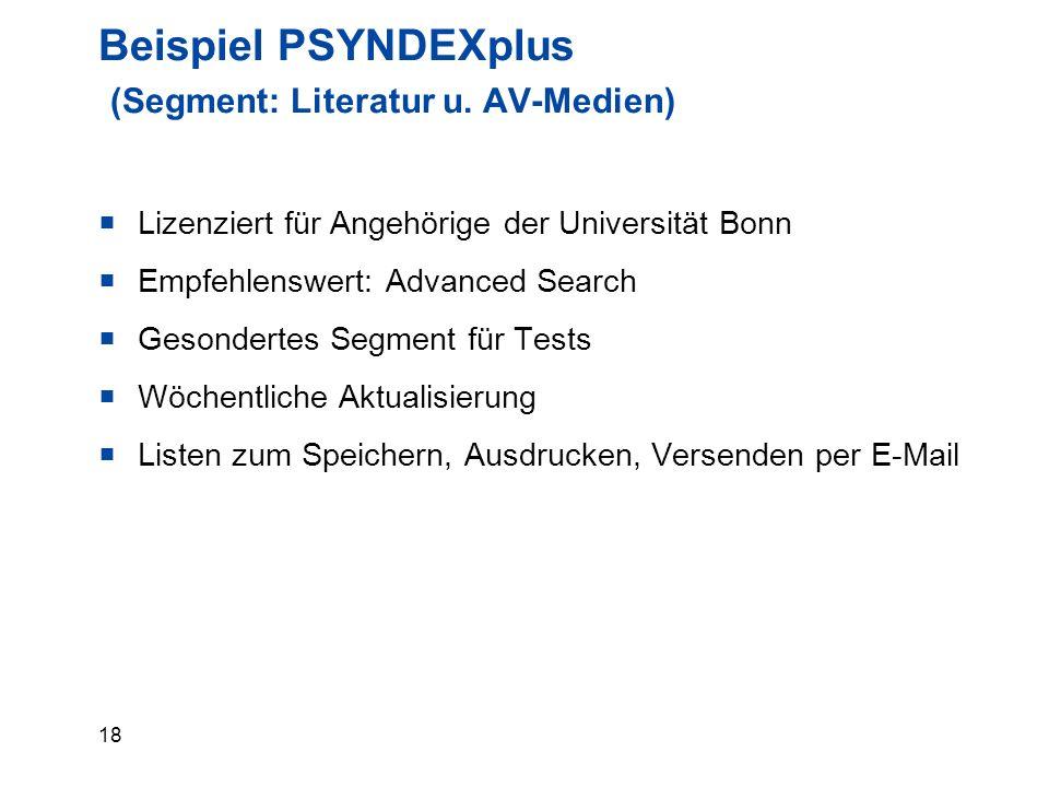 18 Beispiel PSYNDEXplus (Segment: Literatur u.