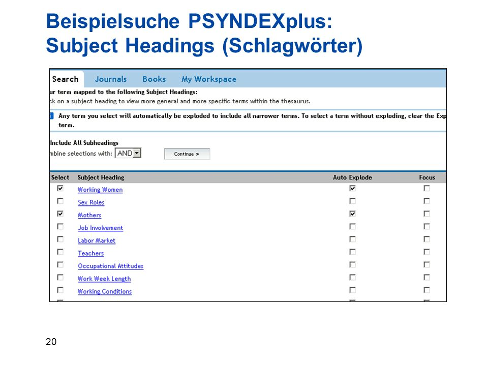 20 Beispielsuche PSYNDEXplus: Subject Headings (Schlagwörter)
