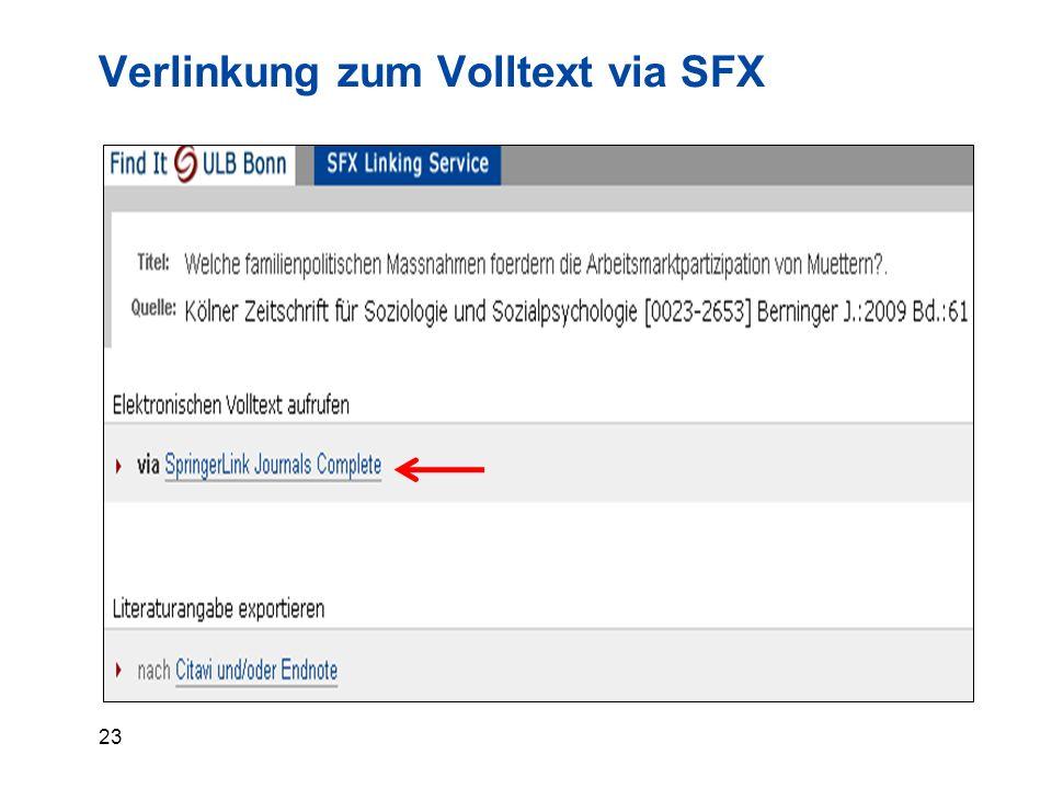 23 Verlinkung zum Volltext via SFX